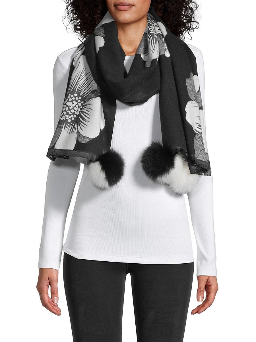 Tina Fox Fur Pom-Pom Floral Scarf