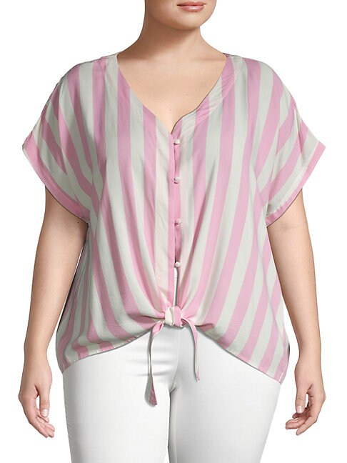 Bobeau PLUS STRIPED & KNOTTED TOP