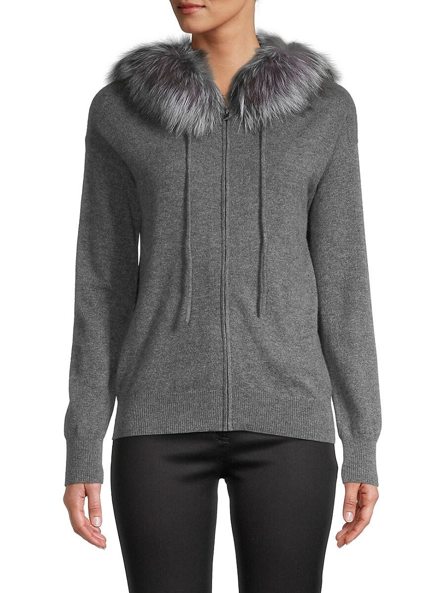 Women's Fox Fur-Trimmed Cashmere Hoodie