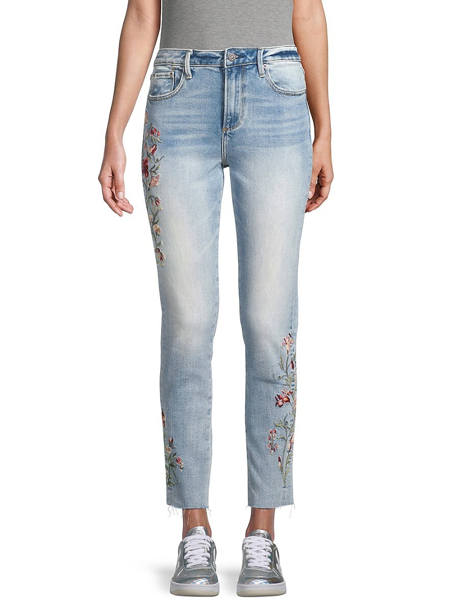 Women's Jackie Floral Embroidered Raw-Edge Skinny Jeans