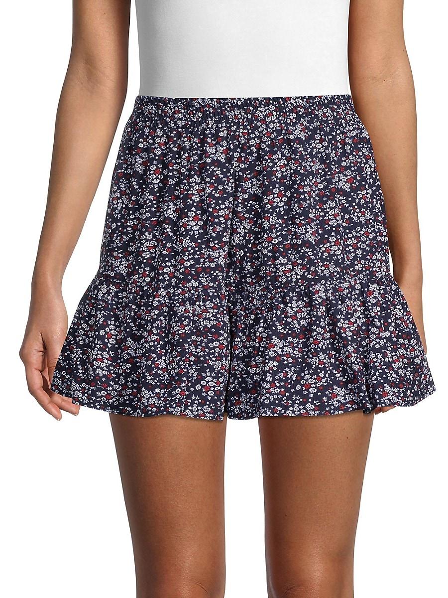 Women's Ruffled Floral Mini Skirt
