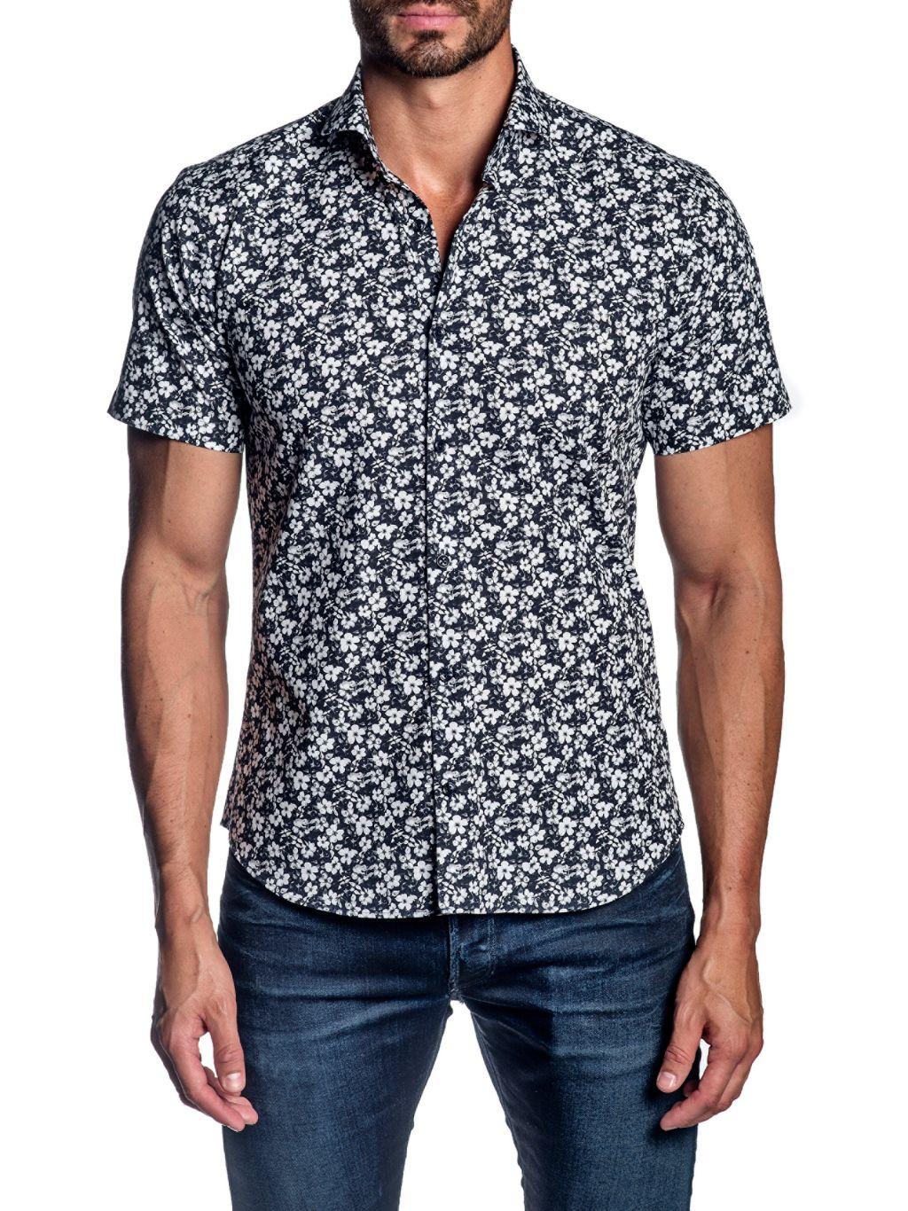 Jared Lang Floral Short-Sleeve Button-Down Shirt