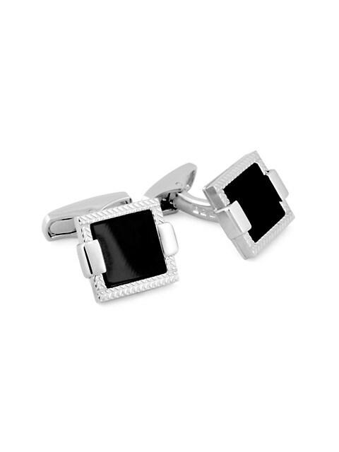 Zegna Sterling Silver & Onyx Herringbone Cufflinks