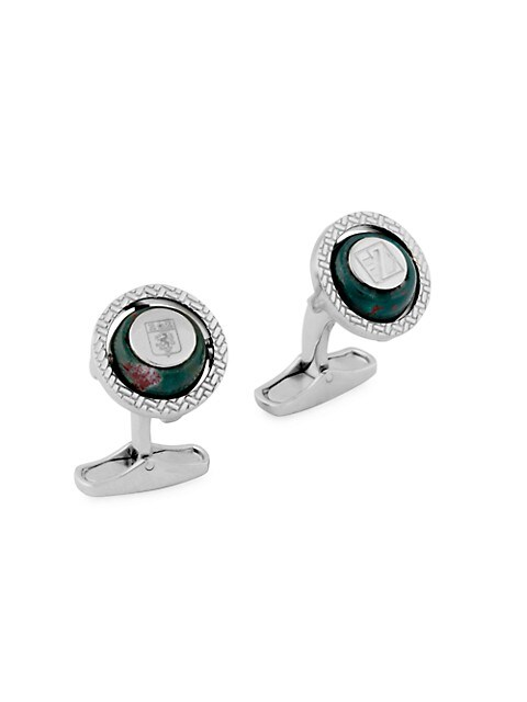 Zegna Sterling Silver & Blood Stone Rotating Cufflinks