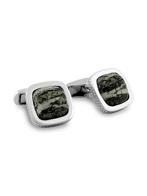 Zegna Sterling Silver & Zebra Stone Square Cufflinks