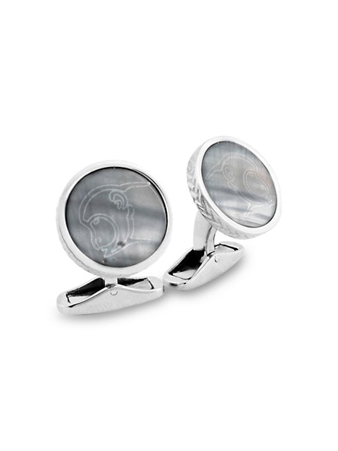 Zegna Sterling Silver & Mother-Of-Pearl Monkey Cufflinks