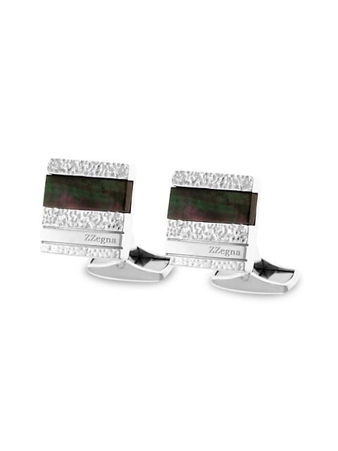 Zegna Sterling Silver & Black Mother-Of-Pearl Hammered Cufflinks