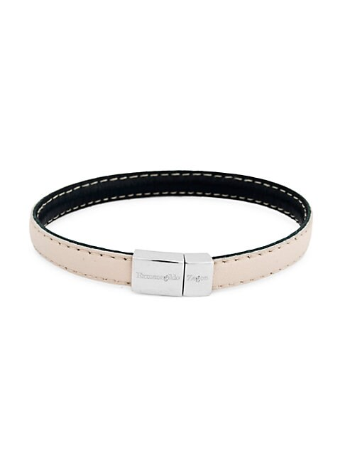 Zegna Leather & Sterling Silver Stitch Bracelet