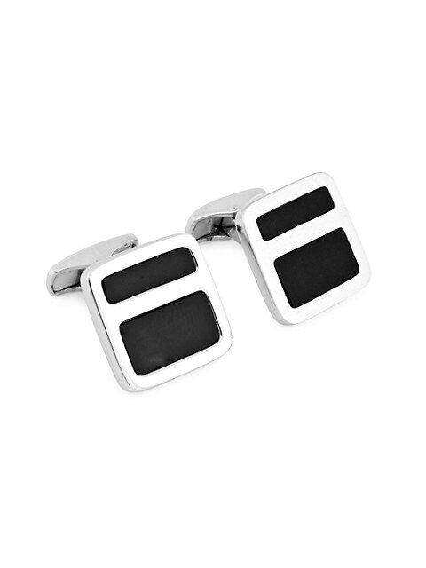 Zegna Sterling Silver & Onyx Square Cufflinks