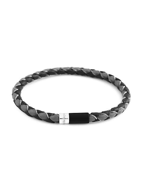 Zegna Sterling Silver & Bi-color Braided Leather Bracelet