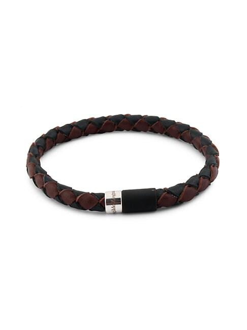 Zegna Sterling Silver & Bi-color Braided Leather Bracelet