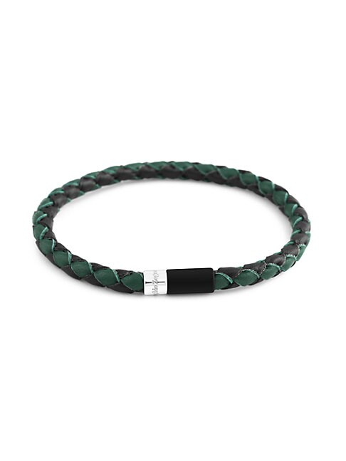 Zegna Bi-color Braided Leather & Sterling Silver Bracelet