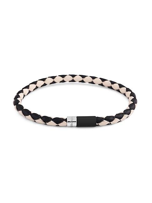 Zegna Bi-color Braided Leather & Sterling Silver Bracelet