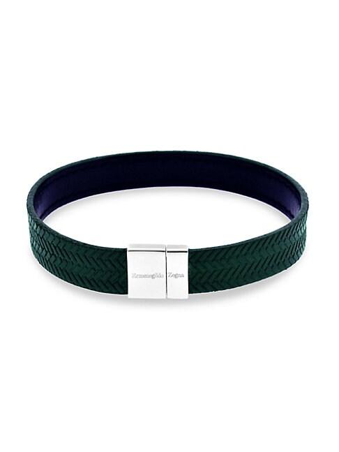 Zegna Reversible Sterling Silver & Embossed Herringbone Leather Bracelet