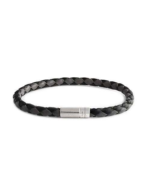 Zegna Sterling Silver & Bi-color Leather Braided Bracelet