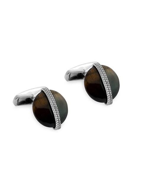 Zegna Sterling Silver & Tiger's Eye Cufflinks
