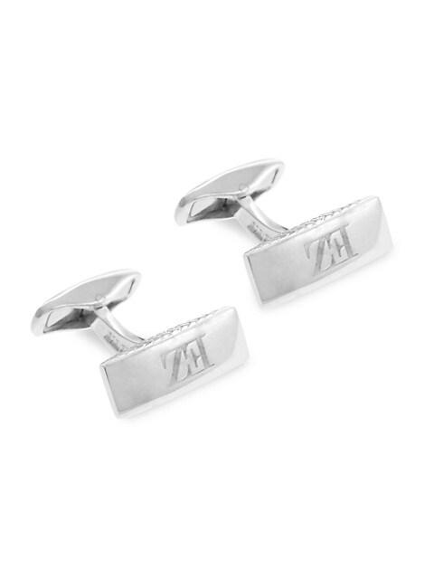 Zegna Rectangular Sterling Silver Logo Cufflinks
