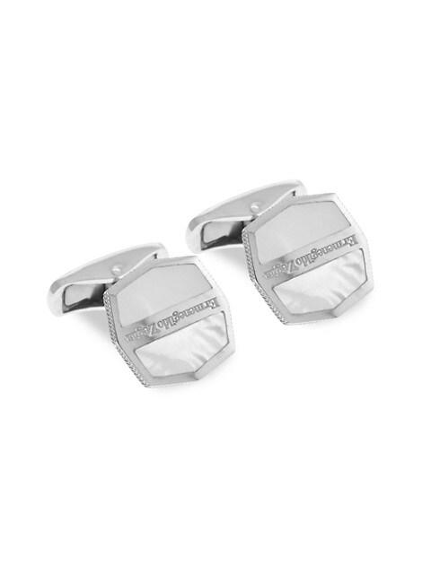 Zegna Octogonal Sterling Silver & White Mother-Of-Pearl Herringbone Cufflinks