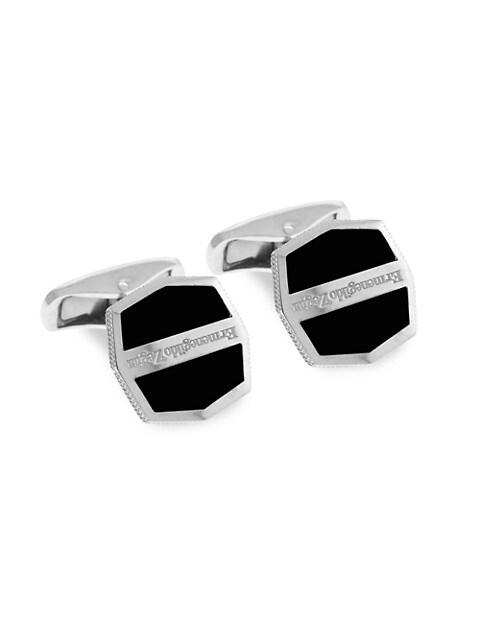 Zegna Octogonal Sterling Silver & Black Agate Herringbone Cufflinks