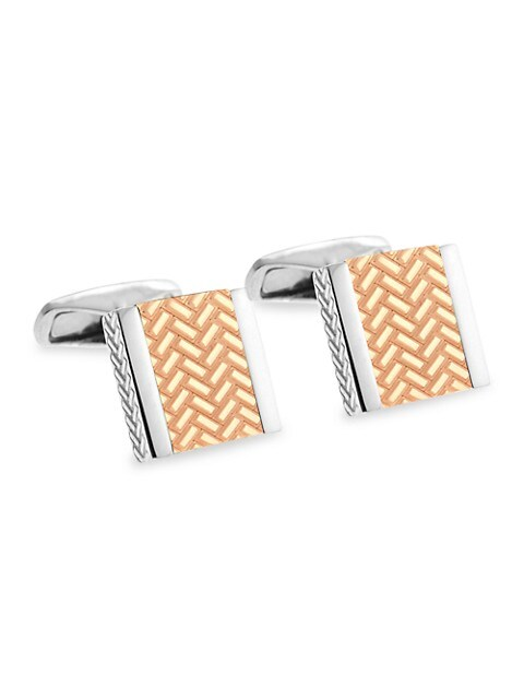 Zegna Square Sterling Silver & Rose Goldplated Engraved Cufflinks