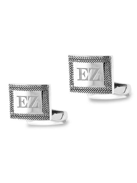 Zegna Sterling Silver Herringbone Cufflinks