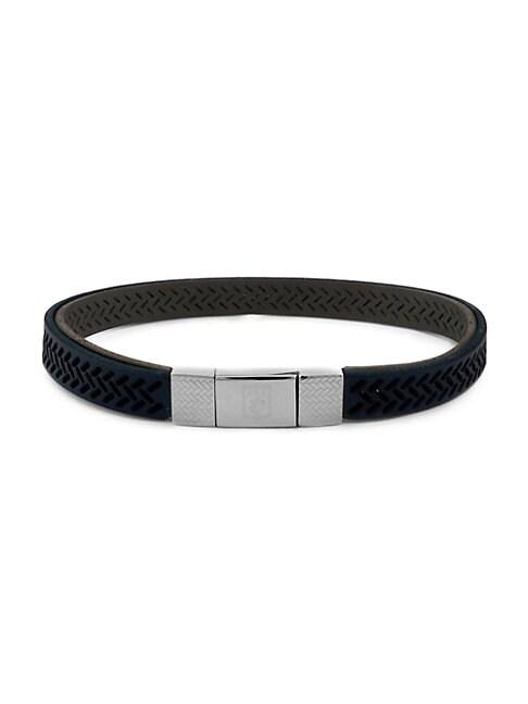 Zegna Sterling Silver & Leather Herringbone Cutout Bracelet
