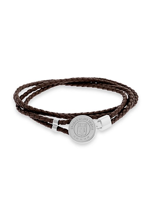 Zegna Sterling Silver & Braided Leather Logo Bracelet