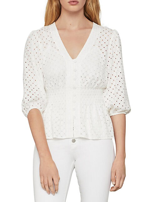 Bcbgmaxazria Eyelet Peplum Top In Optic White