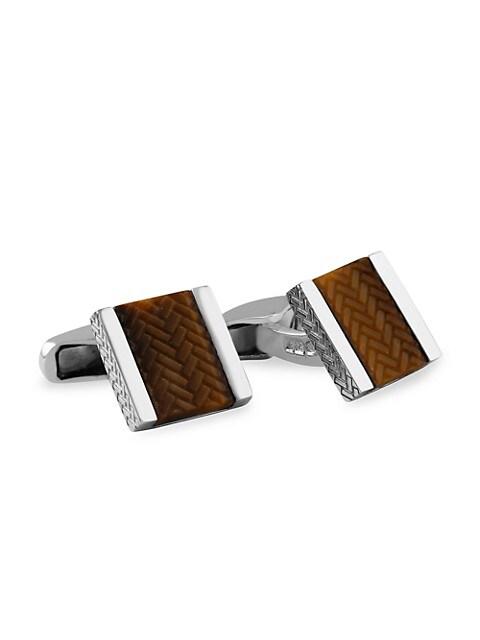 Zegna Tiger's Eye & Sterling Silver Herringbone Cufflinks