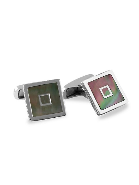 Zegna Square Mother-Of-Pearl & Sterling Silver Cufflinks