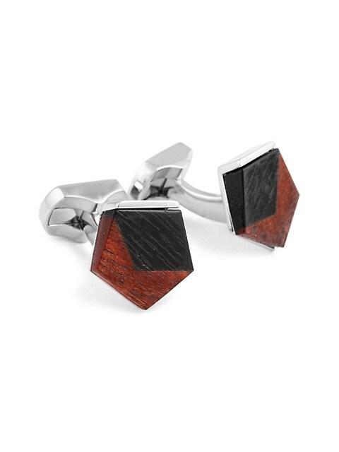 Zegna Frame Square Fibre Optic Glass & Rhodium Cufflinks