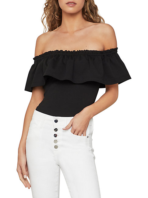 Bcbgmaxazria RUFFLED OFF-THE-SHOULDER BODYSUIT