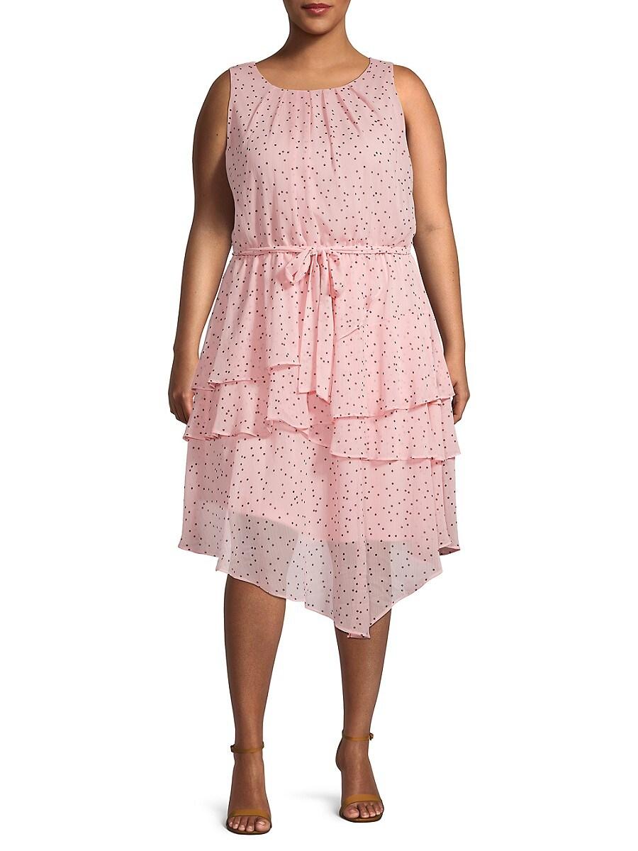 Women's Plus Tiered Dot-Print Dress