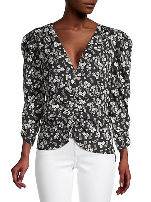ASTR The Label Floral Print Shirred Top