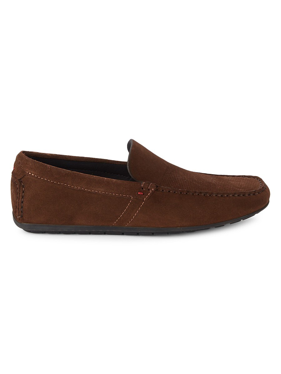 Men's Perforated Suede Loafers