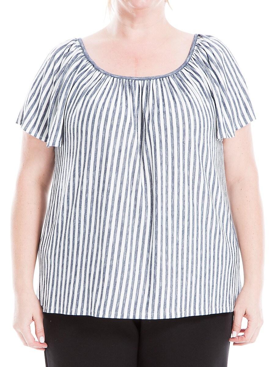 Women's Plus Striped Short-Sleeve Top