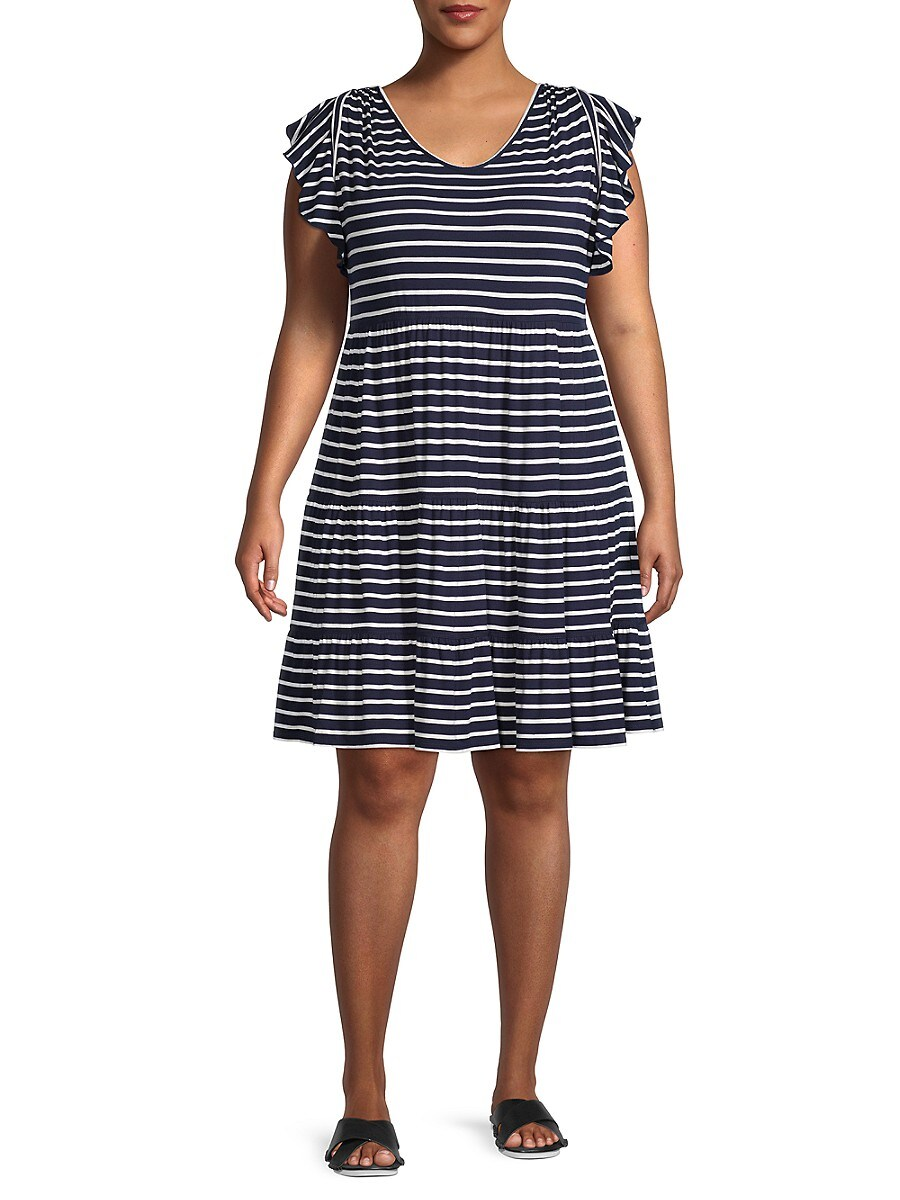 Women's Plus Striped Mini Dress