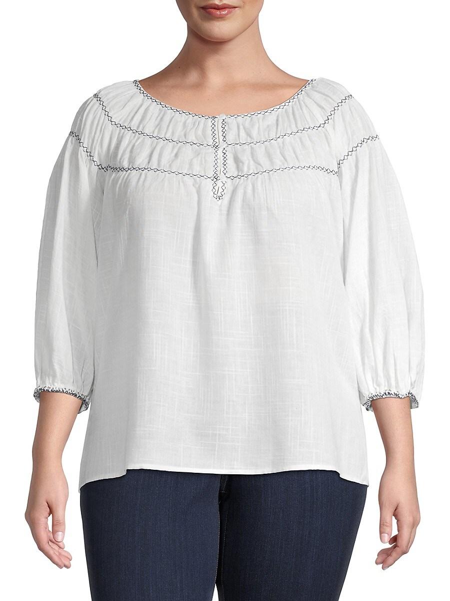 Women's Plus Cotton-Blend Bubble-Sleeve Top