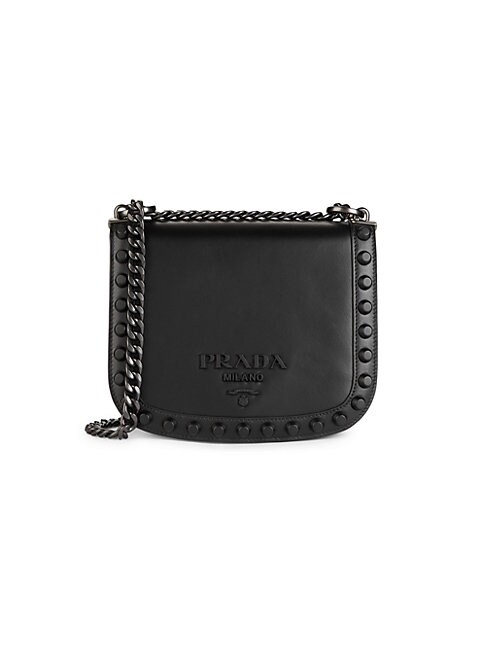 Prada Mini Leather Crossbody Bag In Black