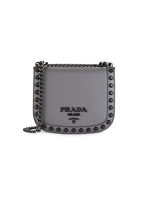 Prada Studded Leather Crossbody Bag In Gunmetal