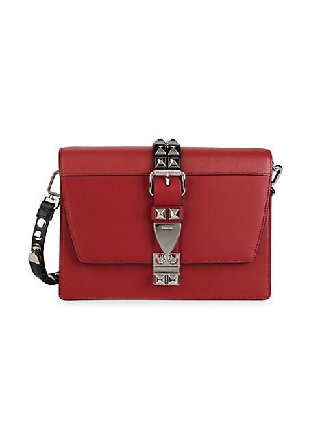 Prada Silvertone-embellished Leather Crossbody Bag In Red