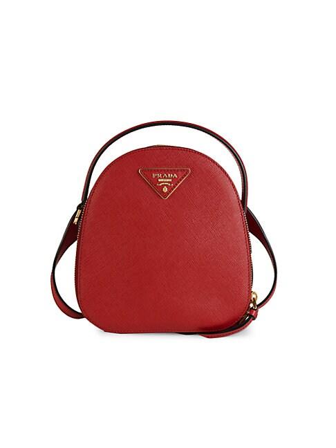 Prada Mini Leather Backpack In Red
