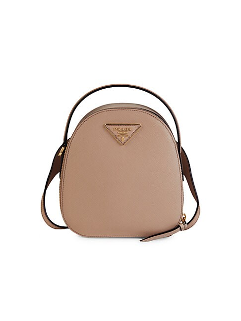 Prada Small Leather Rounded Backpack In Pink