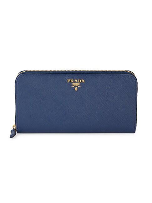 Prada Long Leather Wallet In Blue