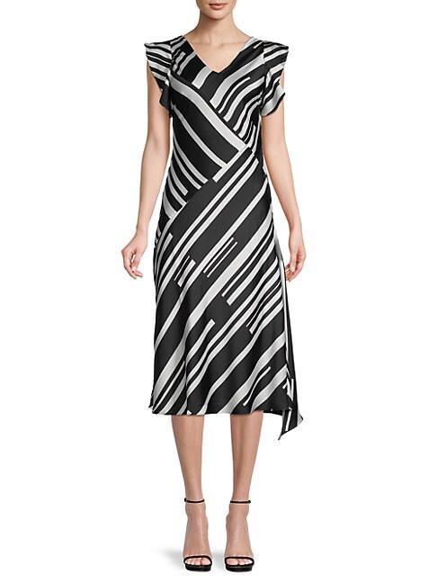 Donna Karan STRIPE FLUTTER-SLEEVE DRESS