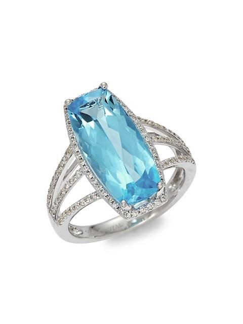 Saks Fifth Avenue 14K White Gold, Topaz & Diamond Multi-Band Ring