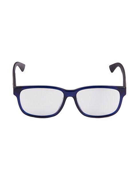 Gucci 56mm Square Blue Light Blocking Reading Glasses In Blue Black