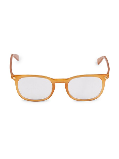 Gucci 50mm Square Blue Light Blocking Reading Glasses In Yellow