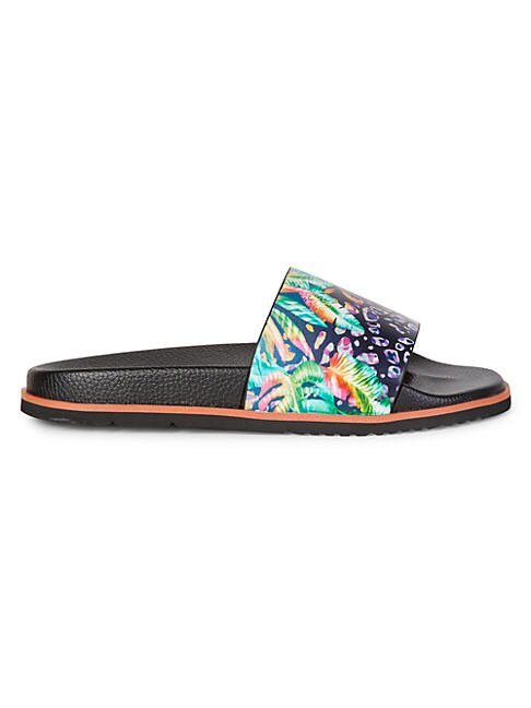 Robert Graham RECON PRINTED LEATHER POOL SLIDES