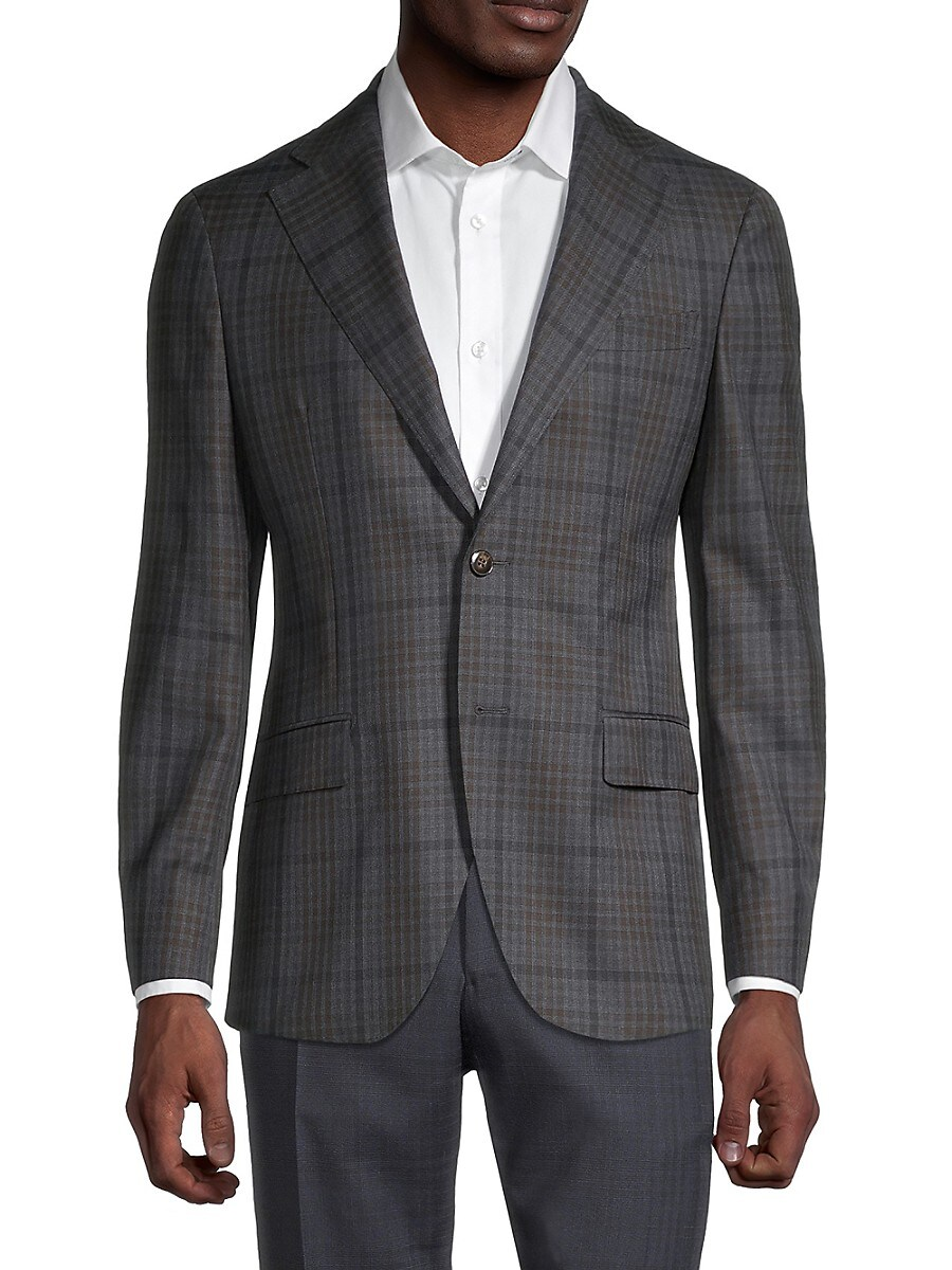 Men's Standard-Fit Check Wool Sportcoat
